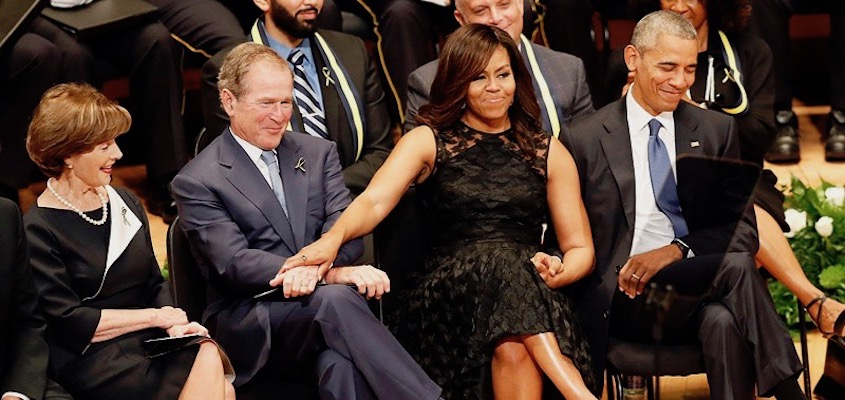 Theory 101: The State as Personified by the Embrace of Michelle Obama and George W. Bush
