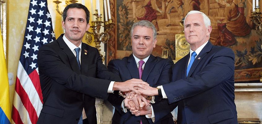 Venezuela's fantasy president, Juan Guiado with co-sponsors President Marquez of Colombia and US vice president Mike Pence
