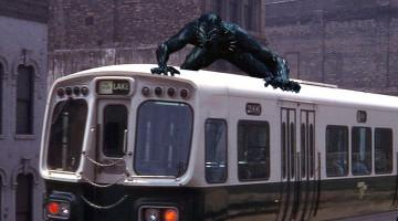Black Panther riding subway car